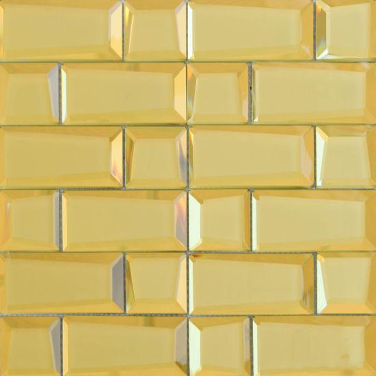 Yq1008 Wholesale New Design Gold Color Glass Mosaic