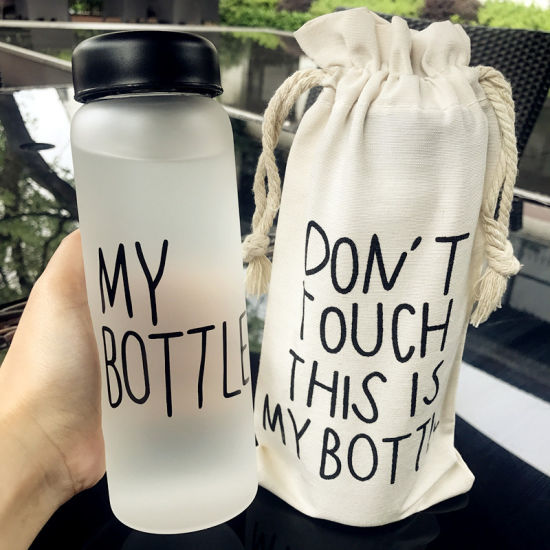 Private Label 18oz 20oz Water Drink Flask Glass Bottle for Gym Sports Camping with Sleeve