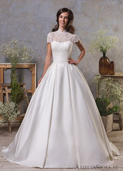 China Amelie Rocky High Neck Short Sleeve Satin Cheap Wedding Gowns ...