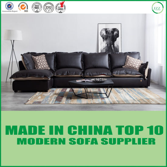 Modern Designer L Shape Leather and Fabric Leisure Sofa