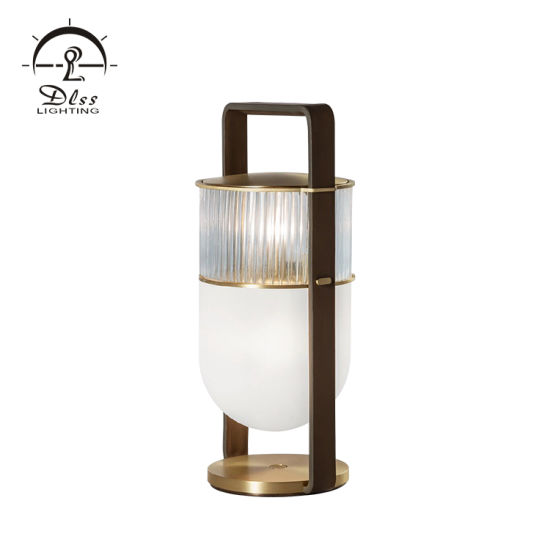 Nordic Decorative Black Metal White Glass Bedside Modern G9 Table Lamp