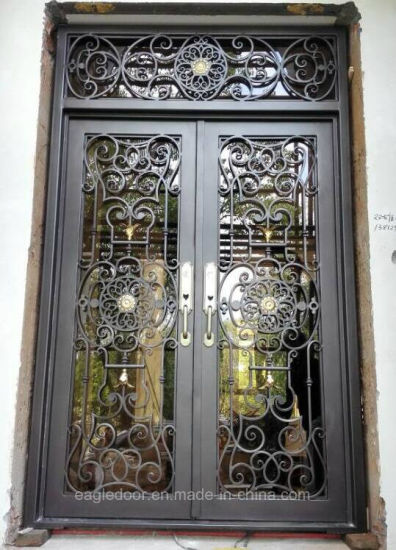 China Arched Wrought Iron French Double Front Entry Doors Iron