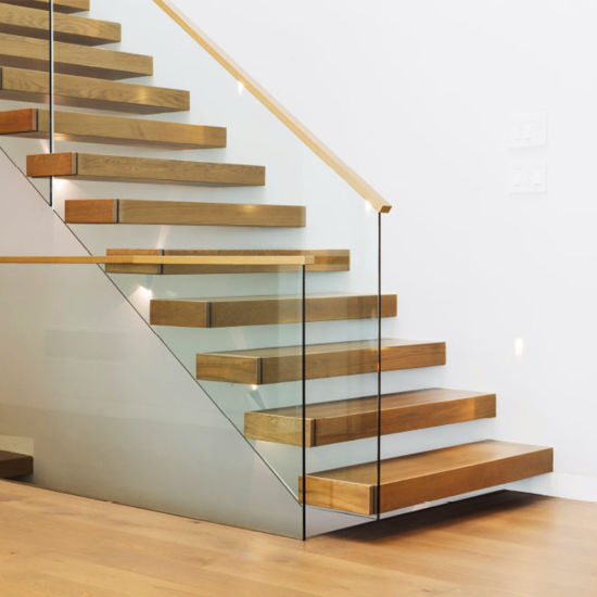Timber Staircase Price: China Modern Glass Wood Staircase With Timber Tread 12mm
