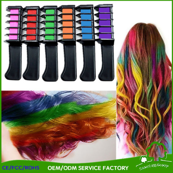 China Temporary Hair Color Comb Washable Hair Chalk Applicator Brush ...