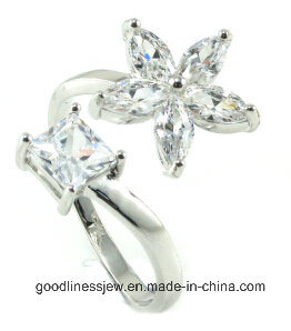 Promotion Gift 925 Sterling Silver Jewelry Rong Flower with Rhinestones Rose Gold Ring Opening Adjustable Ring Jewelry (R10279)