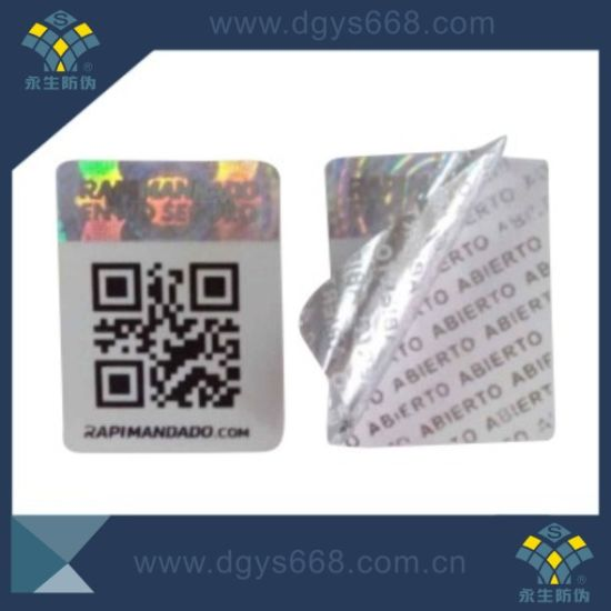 Tamper evident security anti fake stickers with qr code printing