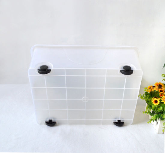 Top Quality Plastic Products PP Material Plastic Storage Box Food Container Gift Box Packing Box with Wheels pictures & photos