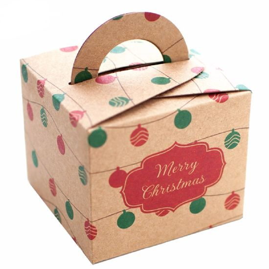 wholesale custom printed kraft paper christmas apple box gift boxes with handles