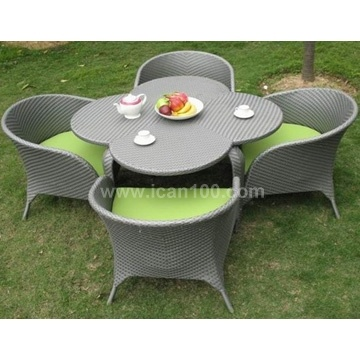 Outdoor Garden White Rattan Dining Restaurant Furniture Table and Chairs (DS-06012W)