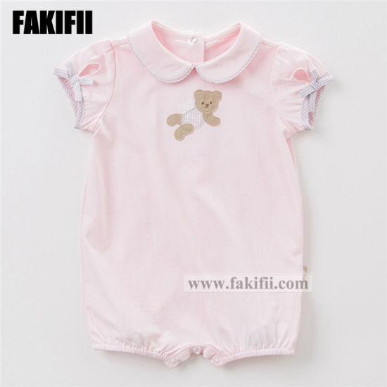 Fakifii Garment Manufacturing Baby Clothes Children Apparel Newborn Infant Cotton Pink Romper Latest Kids Clothing