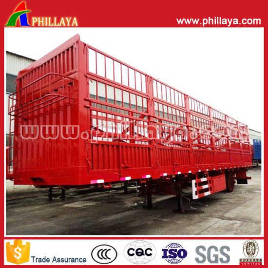 3 Axles Gooseneck Fence Model Livestock Cattel Transportation Stake Semi Truck Trailers Model pictures & photos