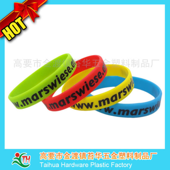 Debossed Ink Filled Wristband Silicone Gift (TH-6918) pictures & photos