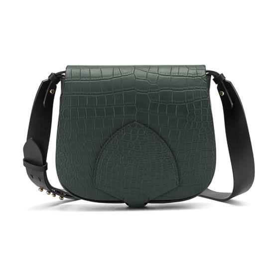 Women Genuine Crocodile Shoulder Bag Debossed Cowhide Leather Crossbody Bag