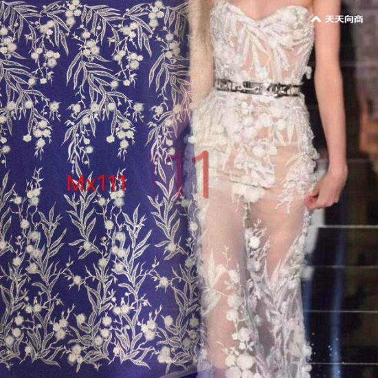 Beautiful Diamonds Embroidered Wedding Fabric Beaded Fabric By The Yard White