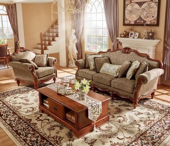 2018 Classic Solid Wood Frame Leather or Fabric Sofa Furniture Set for  Living Room