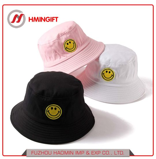 b48a1b46095 Fashion Custom Black and White 100% Cotton Printed Embroidered Bucket Hat  for Men and Women