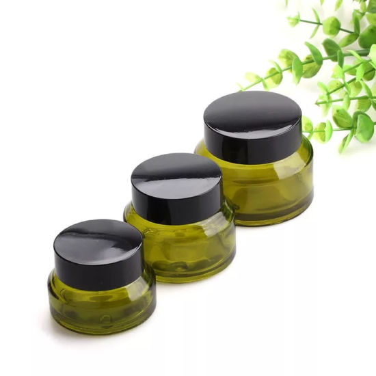 e8df1ba7ab49 15g 30g 50g Olives Green Glass Cream Jars Cosmetic Packaging with Lid Black  Plastic Caps & Inner Liners Round Empty Small Glass Jar Pot
