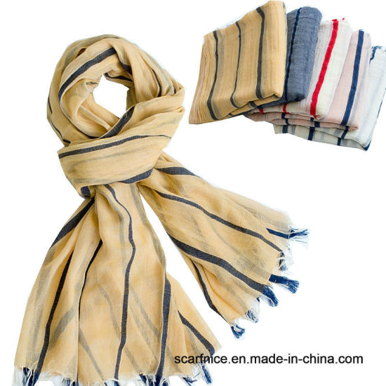 11057dc89 Unisex Style Winter Scarf Cotton and Linen Striped Blue and Black Long Women's  Scarves Shawl Men Scarf - China Men's Scarf, Striped Shawl Wrap ...