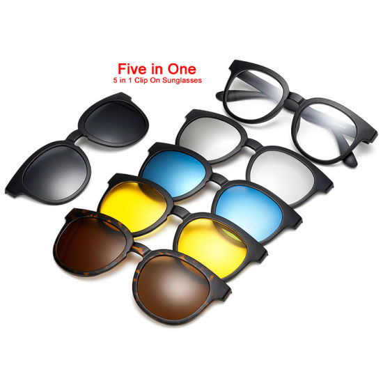 5 Clips Night Driving Glasses PC Magnetic Easy to Replace The Lens Clip on Polarized Sunglasses Clip-on Reading Sun Glasses