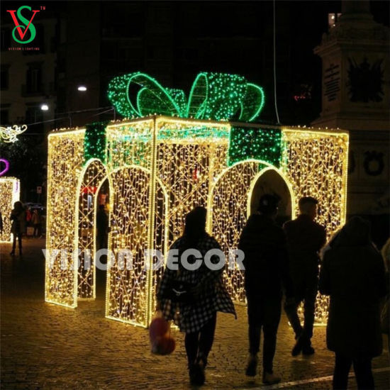 Large Outdoor Lighted Up Christmas Decorations 3d Led Gift Box Light