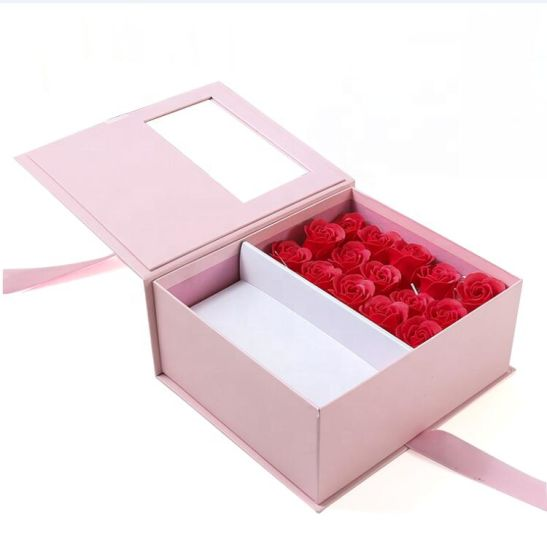 Custom Logo Design Square Gift Rose Packaging Paper Cardboard Boxes for Flowers