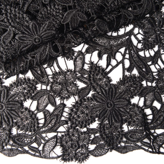 Black Embroidered Flower Guipure Lace Fabric