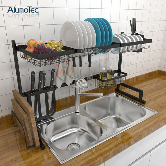 Multi Function 95cm Dish Drying Rack Over Sink Display Stand Stainless Steel Kitchen Storage Shelf Holder