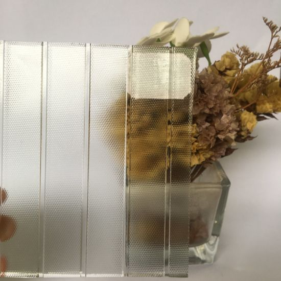 3mm-8mm Super Clear Polka-DOT Moru Flutelite-B Diamond Pattern Building Glass