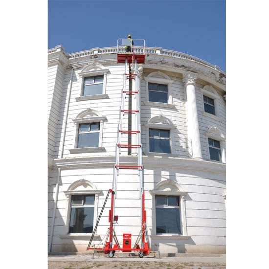 Double Mast Electric Aerial Work Platform Lift Machine Lifting 18 Meters with Ce ISO