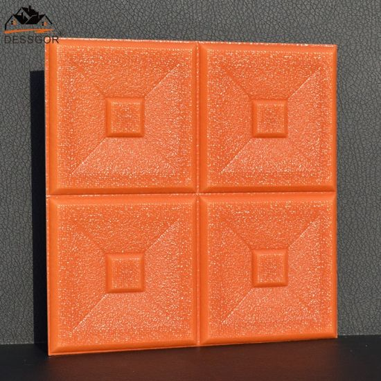 3D Orange Brick Effect Peel Stick Wallpaper PVC Sticky Back Self Adhesive DIY