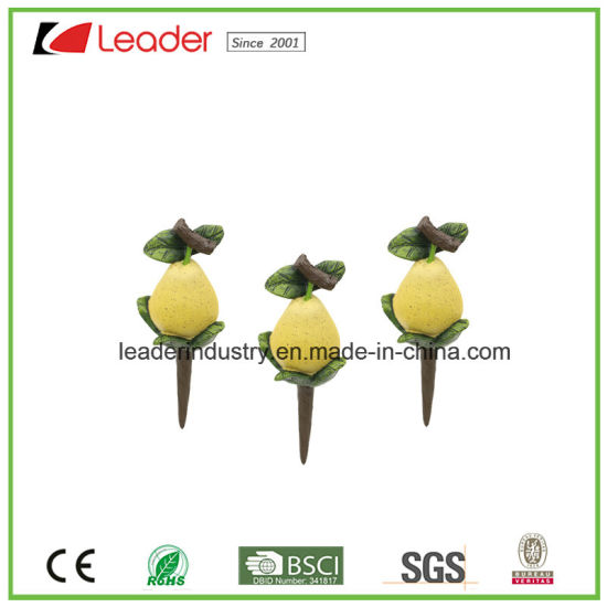 Hand-Painted Resin Garden Mini Decorative Pear Figurine for Home Decoration