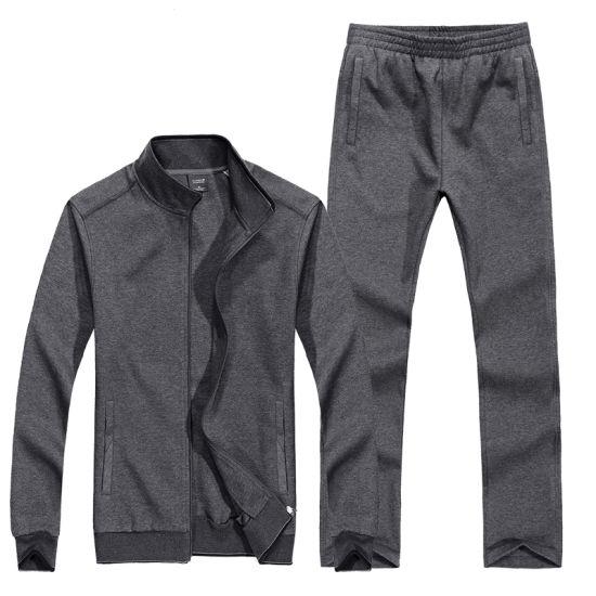 Activewear 100% Cotton 280GSM Men Blank Sports Zipper Sweatsuit