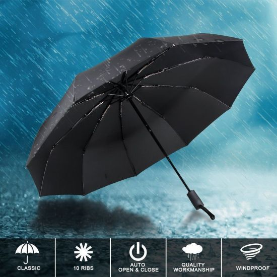 Umbrellas Sun Protection with Black Glue Anti UV Coating Auto Folding