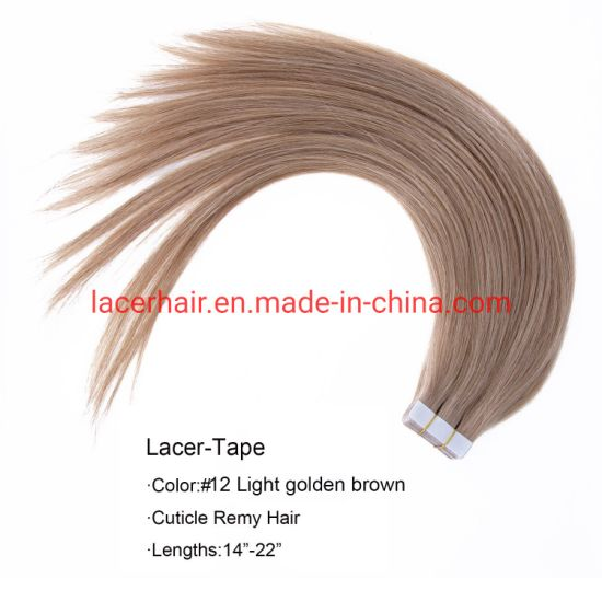 "#12 Light Golden Brown 16"" PU Tape Hair Extensions-Best-Virgin-Remy-Human-Hair-Silver-Grey-Silk-Straight-Factory-Price pictures & photos"
