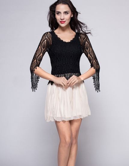 Factory Price Fashion Hollow out Hand Crochet Dress Evening Apparel pictures & photos