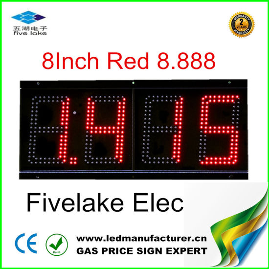 8 Inch LED Gas Price Changer Sign (TT20F-3R-RED)
