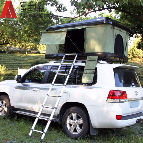 4WD Roof Tent Hard Shell Car Truck Roof Top Tent Aluminium Telescopic Step Ladder for Camping and Travelling