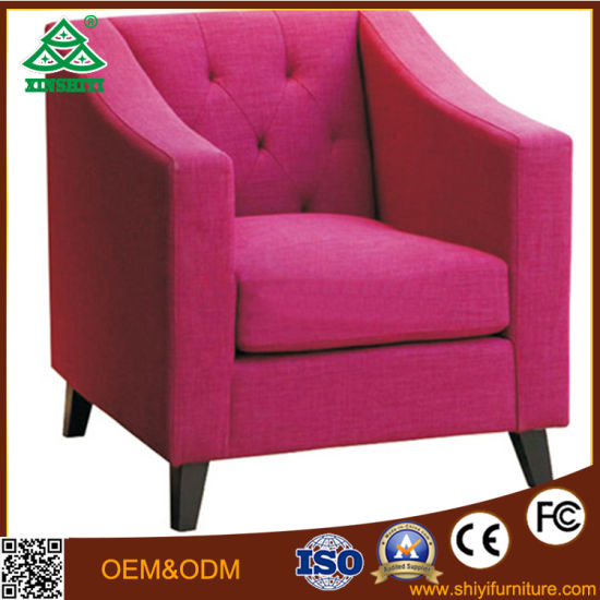 China Modern Solid Wooden Leather Single Sofa Fabric Sectional Sofa ...