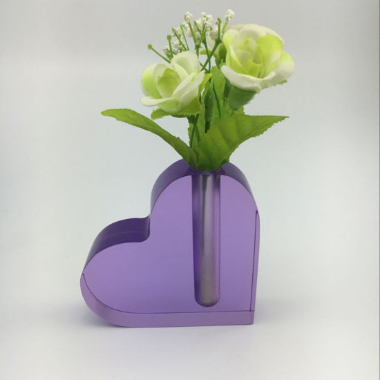 China Desktop Noble Purple Heart Shape Acrylic Vase China Acrylic