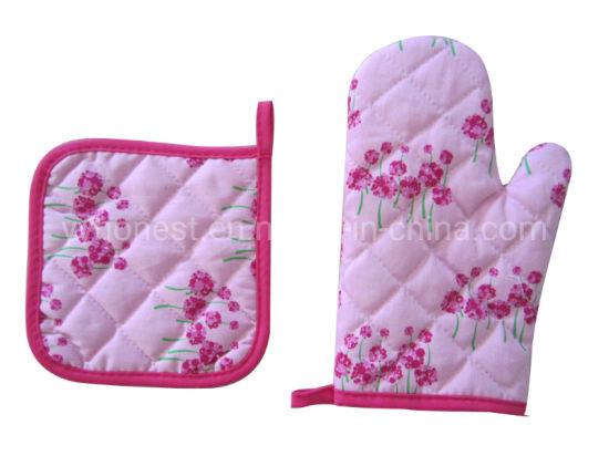 Hot Sale Holiday Promotion Printing Cotton Heat Resistant Kitchen Glove/Pot Holder