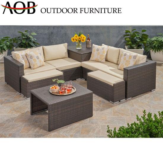 China Outdoor Garden Furniture Set Wholesale PE Rattan Woven Hotel Home Lounge Sofa