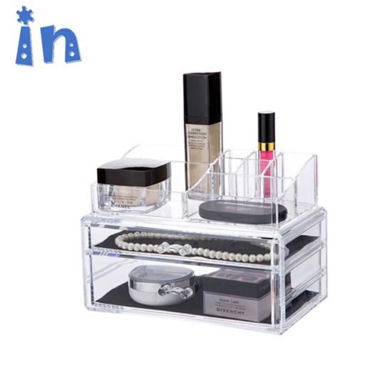 Acrylic Makeup Organizer 2 Drawers Cosmetic Jewelry Storage with Removable  Black Mesh Padding