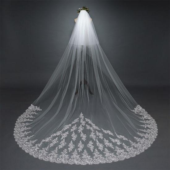 Ivory Tulle Lave Applique Long Bridal Wedding Dress Veils Ts5503