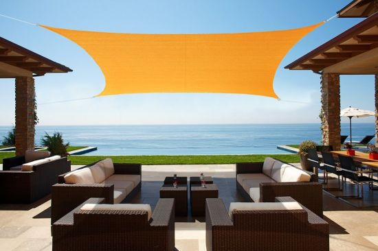 Waterproof Customized Sun Shade Sail Canopy Came with Hardware Kit Rectangle UV Block Polyester for Pergola Carport