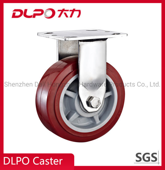 Heavy-Duty Stainless Steel Red Color PU Wheel Industrial Caster pictures & photos