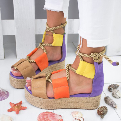 Women Flat Sandals with Rope Thick-Bottomed Splicing Lace up Sandals