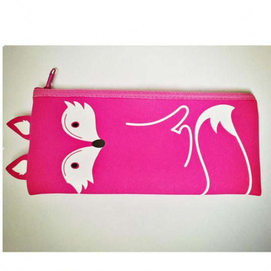 Pink Fox Pencil Bag with Pink Zipper Custom Logo Full Print