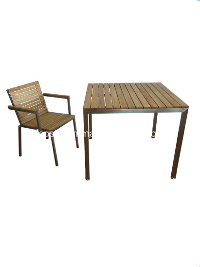 China Ash Wood Stainless Steel Garden, Wooden Outdoor Tables