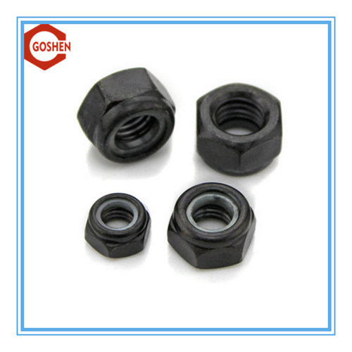 Black Nylon Lock Nut / Carbon Steel Nylon Nut