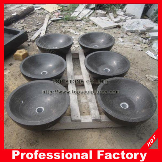 Hand Carved Black Stone Sinks for Hotel Project pictures & photos